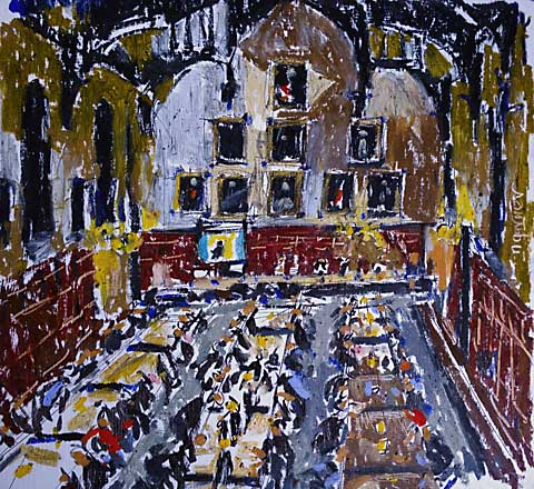 inside magdalen college oxford in oil pastels