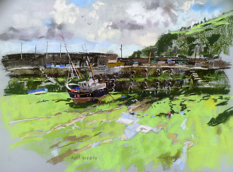 mevagissey harbour with pastels