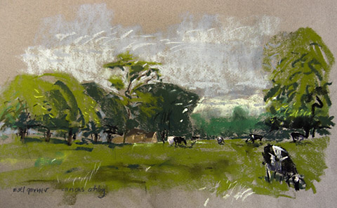 canons ashby pastel with cows