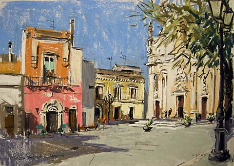 piazza in Uggiano italy in pastels