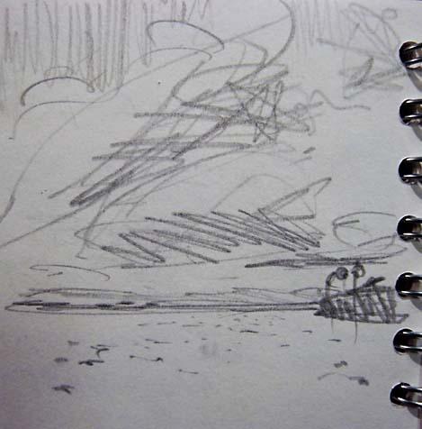 river pencil sketch