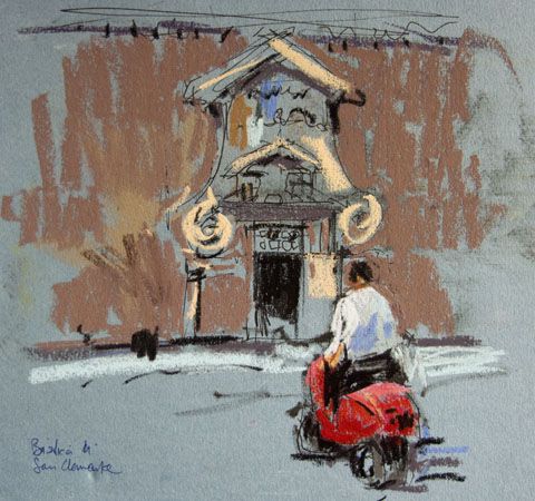 pastel painting in rome. San Clemente