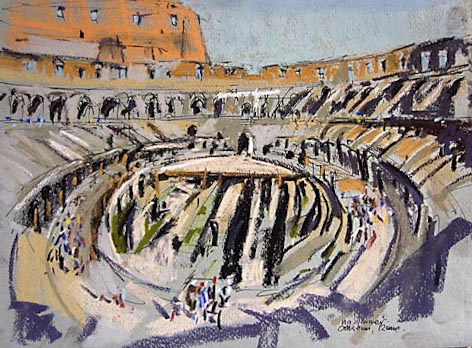 inside the colliseum in rome in pastels