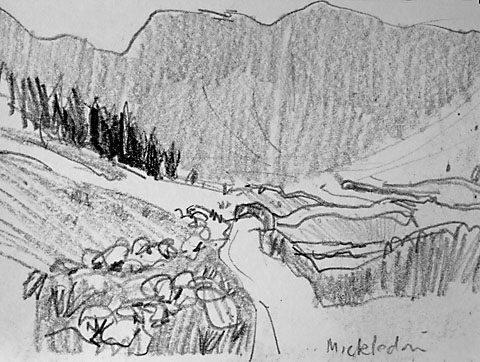 sketch in pencil in Mickledon Lake District